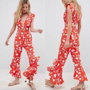 ASOS Señorita Floral Beach Pants size 4
